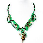 Украшения handmade. Livemaster - original item Necklace of natural chrysoprase in pyrite. Handmade.