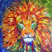 Картины и панно handmade. Livemaster - original item Painting oil / hardboard lion. Handmade.