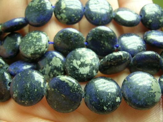 Для украшений ручной работы. Ярмарка Мастеров - ручная работа. Купить Бусина круглая, плоская, темно-синяя из камня. Диаметр 10мм. Толщина 3. Handmade.