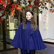 Одежда ручной работы. Ярмарка Мастеров - ручная работа Куртка-пончо  из лодена  без подкладки  - синее. Handmade.