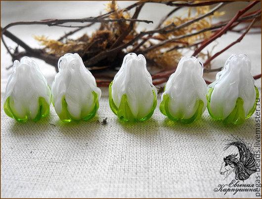 """Для украшений ручной работы. Ярмарка Мастеров - ручная работа. Купить Бусина """"Бутон белый"""". Handmade. Белый, бутоны роз"""