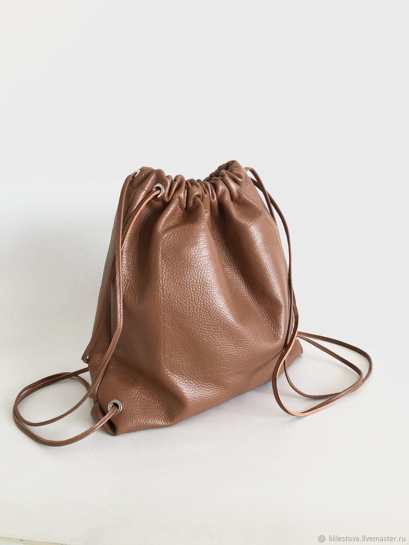 Рюкзак мешок рыжий маленький кожаный, Рюкзаки, Москва,  Фото №1