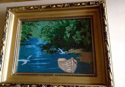 Пейзаж ручной работы. Ярмарка Мастеров - ручная работа. Купить Картина Лодка в лесу (чешский бисер). Handmade. Зелень, утро