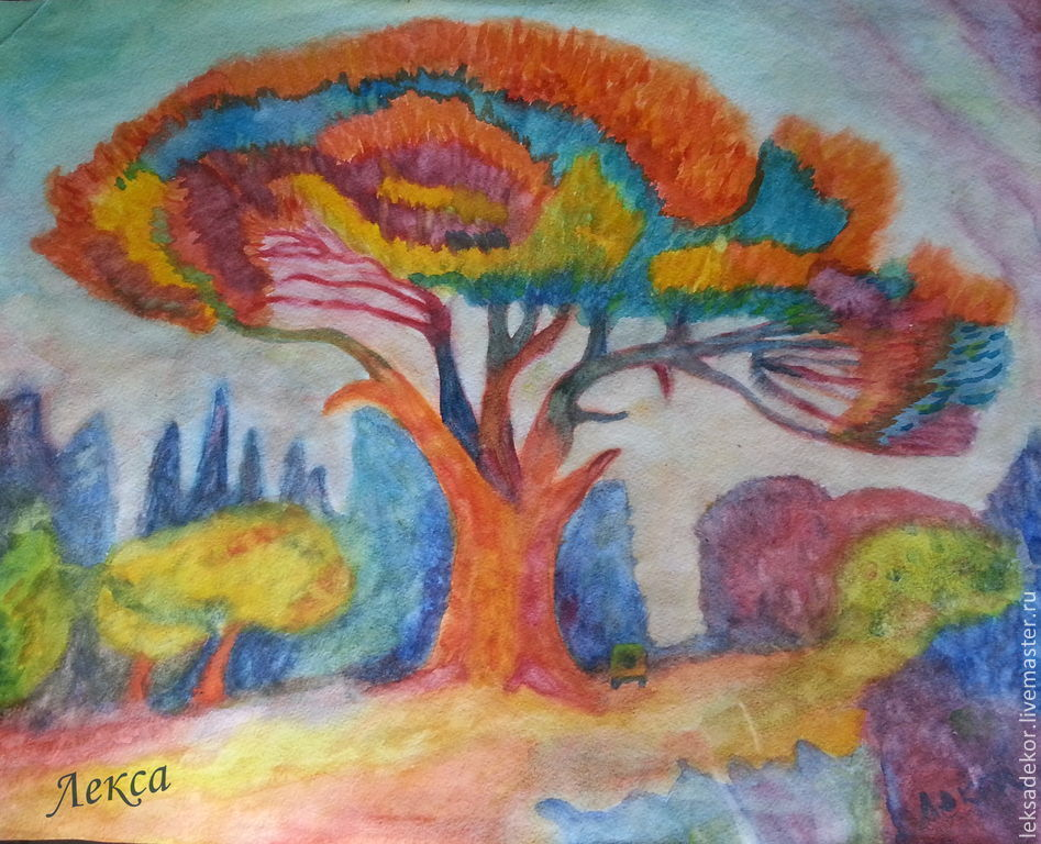 Bright, colorful watercolor painting `Tree of happiness`. painting in the nursery. Inexpensive gift for any occasion.