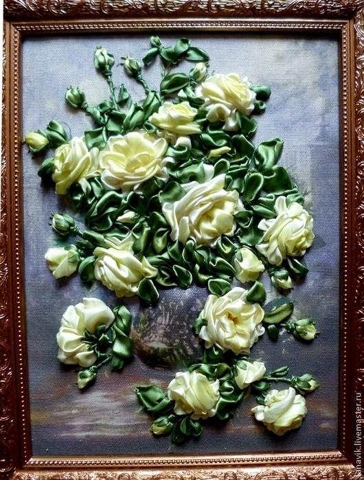Картины цветов ручной работы. Ярмарка Мастеров - ручная работа. Купить Желтые розы. Handmade. Вышивка лентами, объемная картина