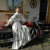 """Одежда ручной работы. Ярмарка Мастеров - ручная работа Платье длинное """"Макошь"""" серая печать. Handmade."""