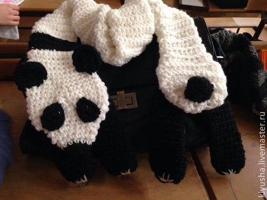 Шарфы и шарфики ручной работы. Ярмарка Мастеров - ручная работа. Купить Шарф вязаный Панда. Handmade. Чёрно-белый, зверошарф
