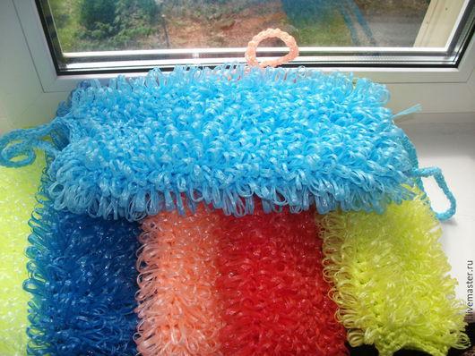 Ванная комната ручной работы. Ярмарка Мастеров - ручная работа. Купить Мочалка из полипропилена, цвета в ассортименте. Handmade. Разноцветный, оранжевый