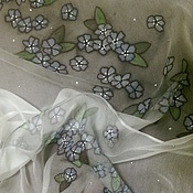 """Аксессуары ручной работы. Ярмарка Мастеров - ручная работа Шелковый шарф """"Ветка цветов"""". Handmade."""