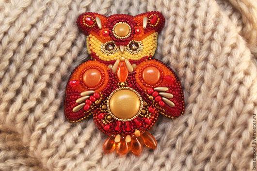 """Броши ручной работы. Ярмарка Мастеров - ручная работа. Купить Брошь """"Рыжая сова №2"""". Handmade. Рыжий, красная сова"""