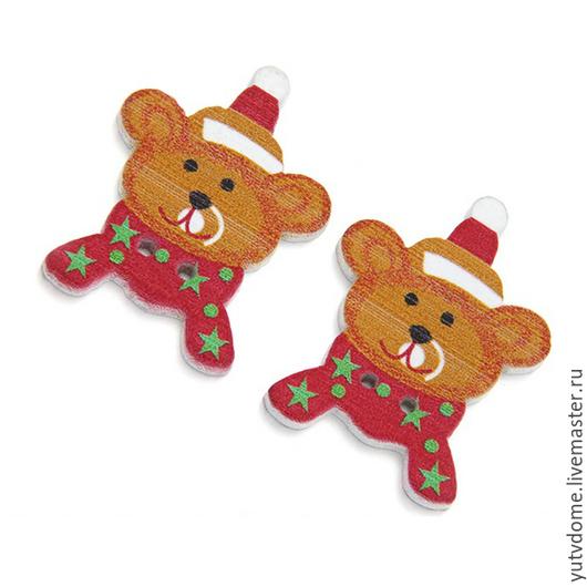 """Шитье ручной работы. Ярмарка Мастеров - ручная работа. Купить 0478 Пуговицы деревянные """"Новогодний мишка"""". Handmade. Дерево, пуговица"""