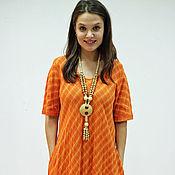 Одежда ручной работы. Ярмарка Мастеров - ручная работа Платье в клетку Апельсин. Handmade.