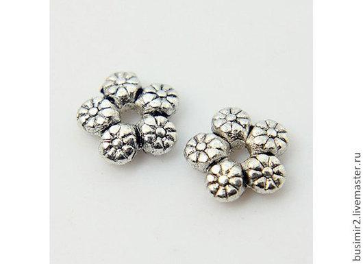Бусина разделитель, цвет - серебро. Фурнитура для создания украшений. Busimir