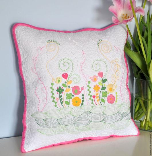 """Текстиль, ковры ручной работы. Ярмарка Мастеров - ручная работа. Купить Декоративная подушка """"Весна"""". Handmade. Хлопок американский, сердечко"""
