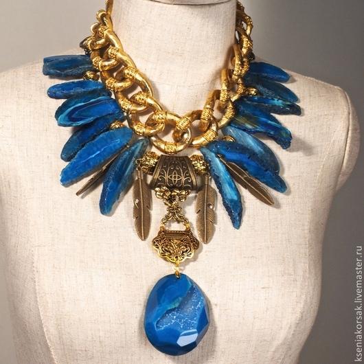 Колье, бусы ручной работы. Ярмарка Мастеров - ручная работа. Купить Синяя птица. Handmade. Синий, агат синий
