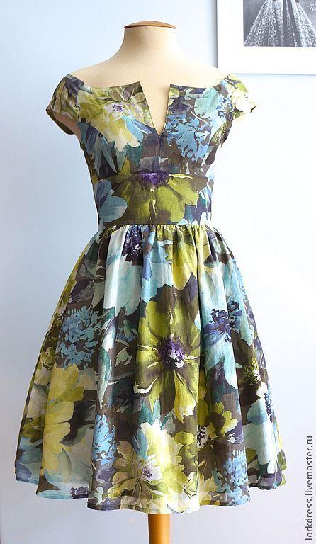 """Платья ручной работы. Ярмарка Мастеров - ручная работа. Купить Платье """"Olive flower"""" из хлопка с шелком. Handmade. Салатовый"""
