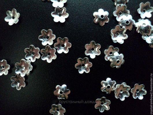 Для украшений ручной работы. Ярмарка Мастеров - ручная работа. Купить Шапочки для бусин 5 мм, за 10шт из серебра 925 пр, арт С354. Handmade.