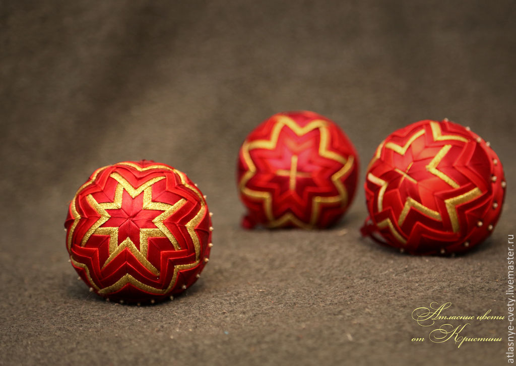 Satin Christmas balls – shop online on Livemaster with shipping ...