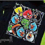 Одежда ручной работы. Ярмарка Мастеров - ручная работа Angry Birds. Ручная роспись футболки.. Handmade.