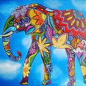 """Картины и панно ручной работы. Ярмарка Мастеров - ручная работа Картина """"Индийский слон"""" (холст, масло, 24х30см). Handmade."""