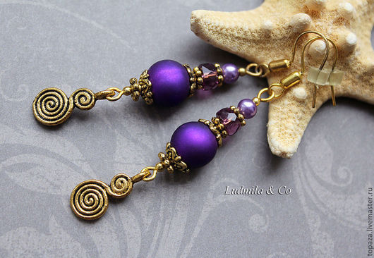 Фиолетовые серьги яркие на лето_Яркое настроение