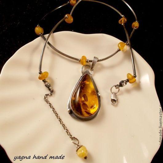 Колье, бусы ручной работы. Ярмарка Мастеров - ручная работа. Купить Медовый янтарь - серебряное ожерелье с балтийским янтарем. Handmade.
