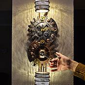 Для дома и интерьера ручной работы. Ярмарка Мастеров - ручная работа настенный светильник с часами в стиле стимпанк. Handmade.