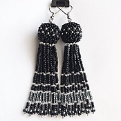 Украшения handmade. Livemaster - original item Earrings tassel beaded black. Handmade.