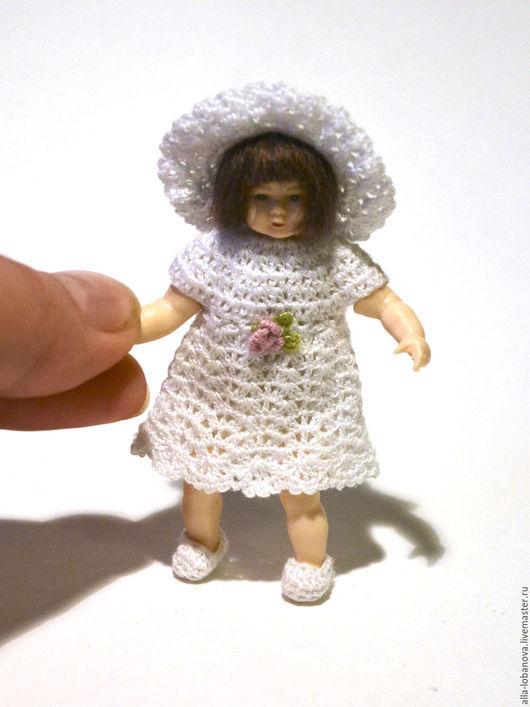 Одежда для кукол ручной работы. Ярмарка Мастеров - ручная работа. Купить Авторское миниатюрное платье крючком. 1 к 12. Handmade.