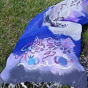Аксессуары handmade. Livemaster - original item Milled tippet Garden of blue roses. Handmade.