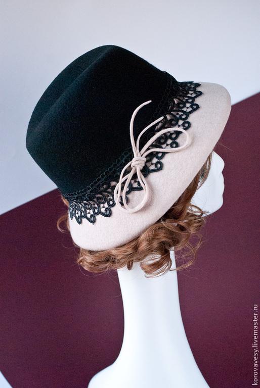 """Шляпы ручной работы. Ярмарка Мастеров - ручная работа. Купить """"Кружевная графика"""". Handmade. Чёрно-белый, шляпа с кружевом"""