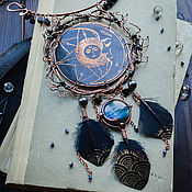 Necklace manualidades. Livemaster - hecho a mano Copper necklace with labradorite Pendant with labradorite Moon Sun Night Black. Handmade.