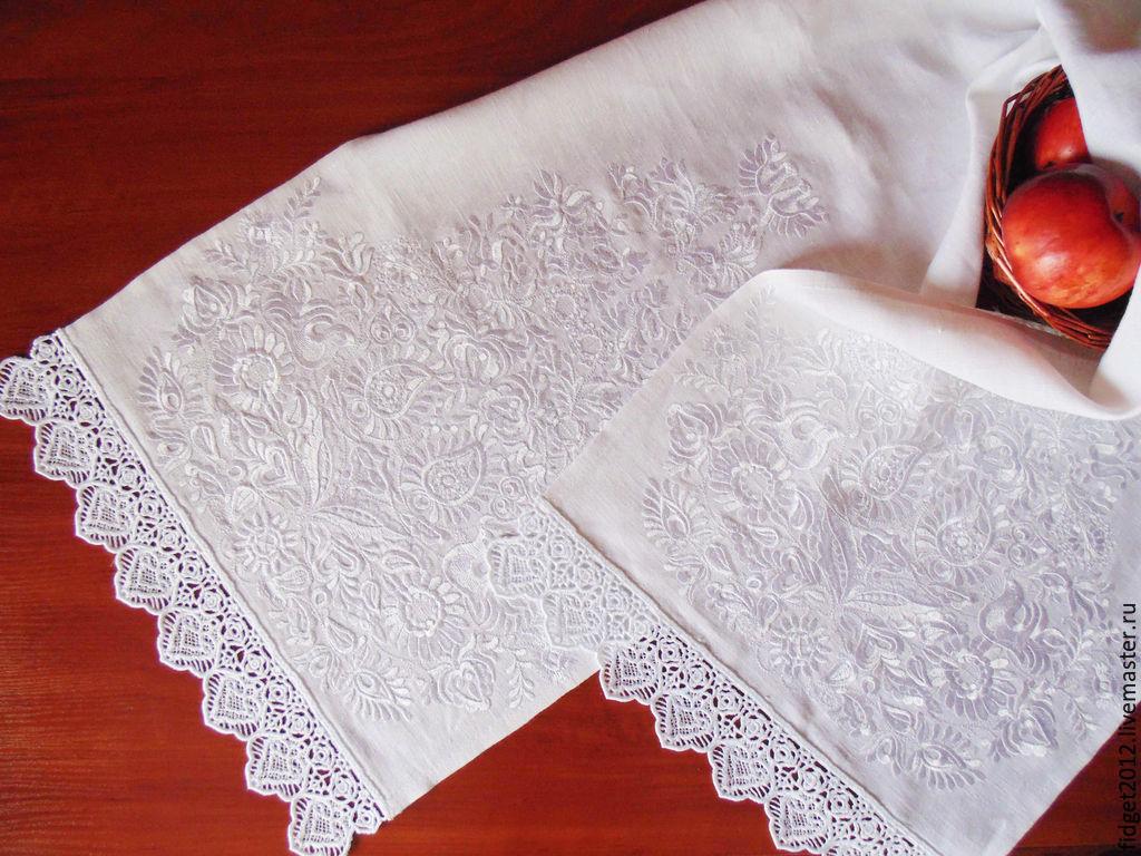 Вышивка рушников белым по белому