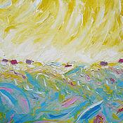 """Картины и панно ручной работы. Ярмарка Мастеров - ручная работа """"Бирюзовая долина"""" 70х70 см большая картина маслом мастихином пейзаж. Handmade."""