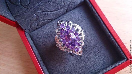 """Кольца ручной работы. Ярмарка Мастеров - ручная работа. Купить """"Луиджи"""" - стильное кольцо с уругвайскими аметистами. Handmade. Фиолетовый"""