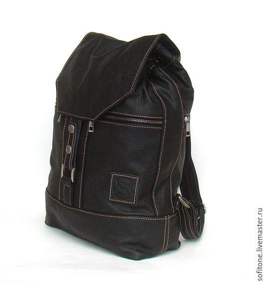 Рюкзаки ручной работы. Ярмарка Мастеров - ручная работа. Купить Классический черный рюкзак из натуральной кожи. Handmade. Черный