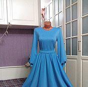 Одежда ручной работы. Ярмарка Мастеров - ручная работа Трикотажное платье миди Небесно-голубое с юбкой полусолнце. Handmade.