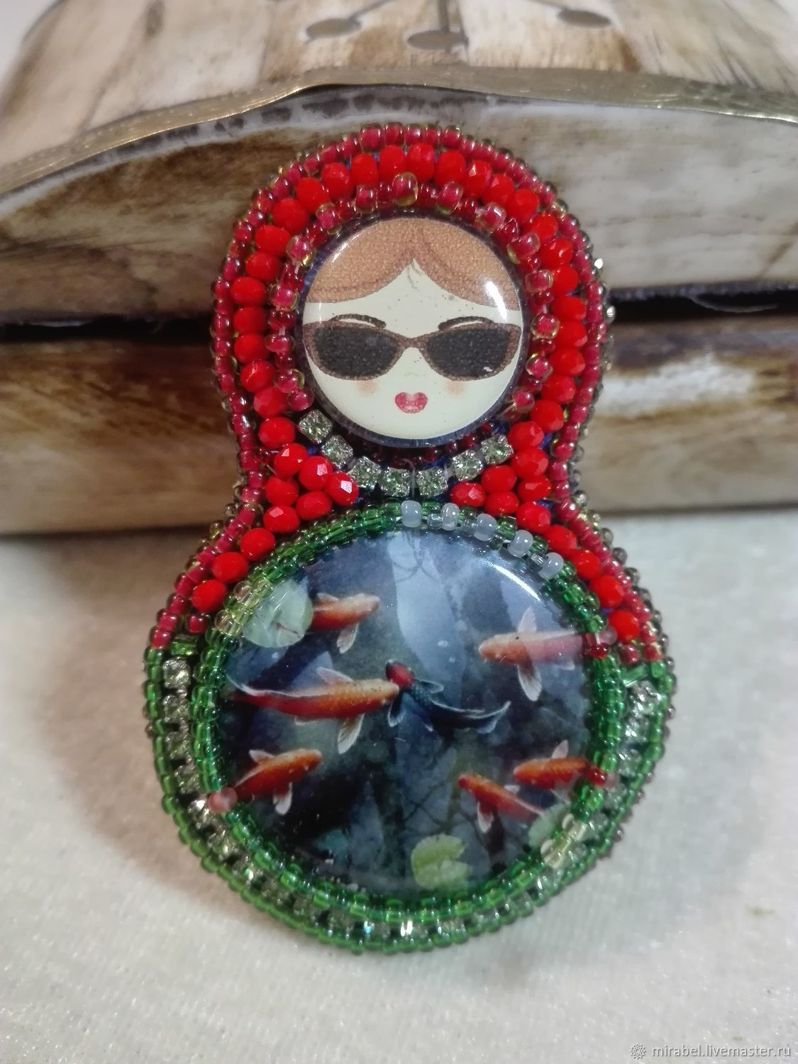 Brooch Matryoshka-little mermaid embroidery with beads, Brooches, Moscow,  Фото №1