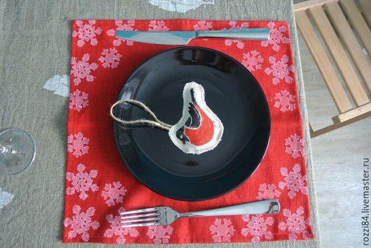 """Кухня ручной работы. Ярмарка Мастеров - ручная работа. Купить Салфетки льняные """"Снежинки"""". Handmade. Разноцветный, салфетки, набойка, шитье"""