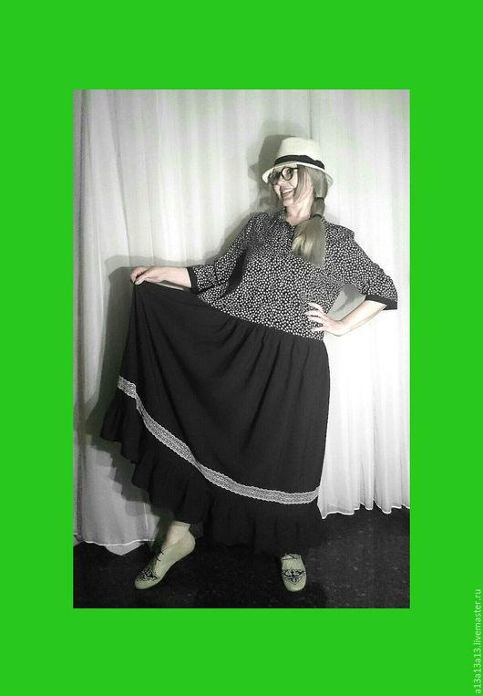 Платья ручной работы. Ярмарка Мастеров - ручная работа. Купить Платье Бохо С-34. Handmade. Чёрно-белый