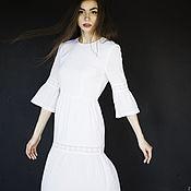 """Одежда ручной работы. Ярмарка Мастеров - ручная работа Платье """"Тополиный пух"""" белое с хлопковым кружевом. Handmade."""