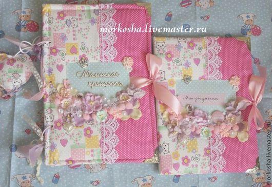 Подарки для новорожденных, ручной работы. Ярмарка Мастеров - ручная работа. Купить Комплект фотоальбом + папка для документов. Handmade. Розовый