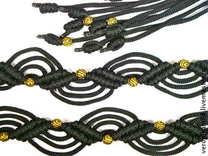 """Пояса, ремни ручной работы. Ярмарка Мастеров - ручная работа. Купить """"Грация"""", плетёный пояс, чёрный, макраме. Handmade. Черный"""