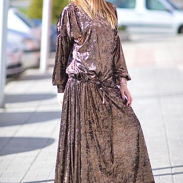 Одежда ручной работы. Ярмарка Мастеров - ручная работа Бархатное платье длинное, Нарядное платье макси - DR0151VE. Handmade.