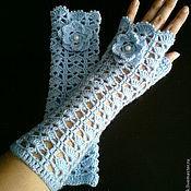 Аксессуары handmade. Livemaster - original item Mitts blue Tenderness. Handmade.