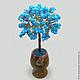 Изделие из бирюзы `Бирюзовое дерево счастья` в вазочке из оникса