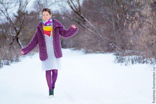 Верхняя одежда ручной работы. Ярмарка Мастеров - ручная работа. Купить Баклажановый короткий кардиганчик на осень или авто-зиму). Handmade.