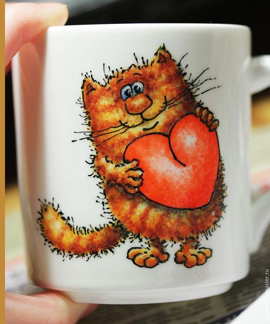 Кружки и чашки ручной работы. Ярмарка Мастеров - ручная работа. Купить А я тебя люблю!...). Handmade. Котик, сердце
