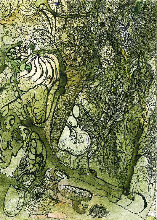 """Фантазийные сюжеты ручной работы. Ярмарка Мастеров - ручная работа. Купить """"Зачарованный лес"""". Handmade. Репродукция, картина для интерьера, графика"""