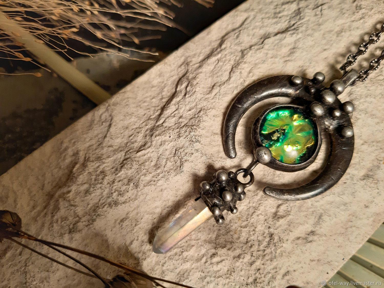 Moon Pendant with greenish dichroic cabochon and quartz (p-105), Pendants, St. Petersburg,  Фото №1